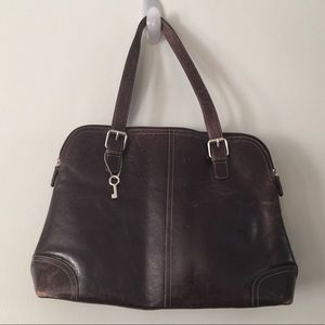 Fossil Large Brown Leather Tote bag Briefcase.